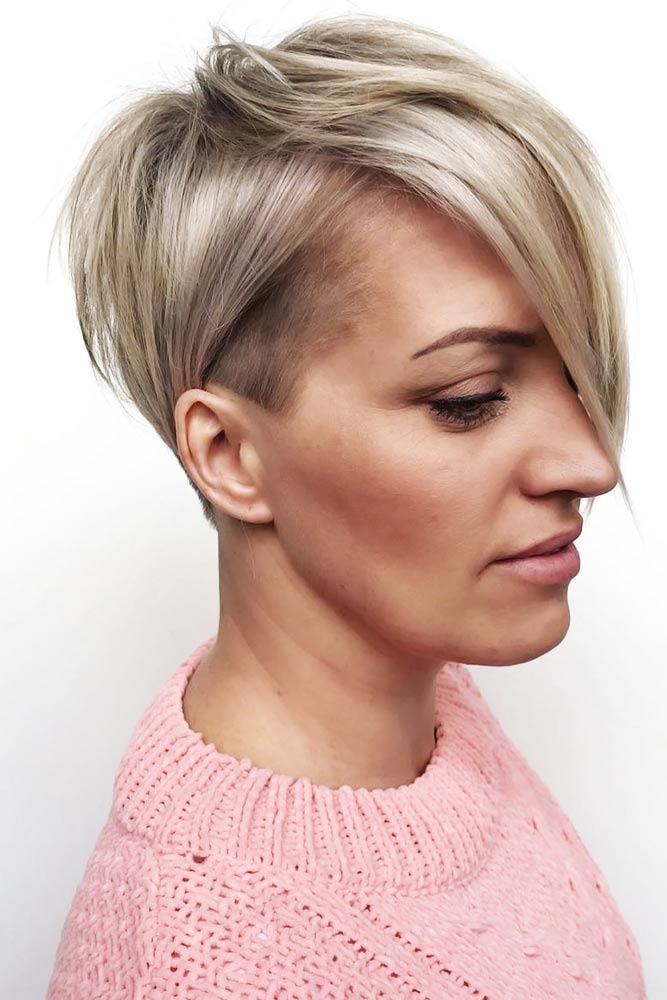 Side Parted Pixies Layered #thinhair #pixie