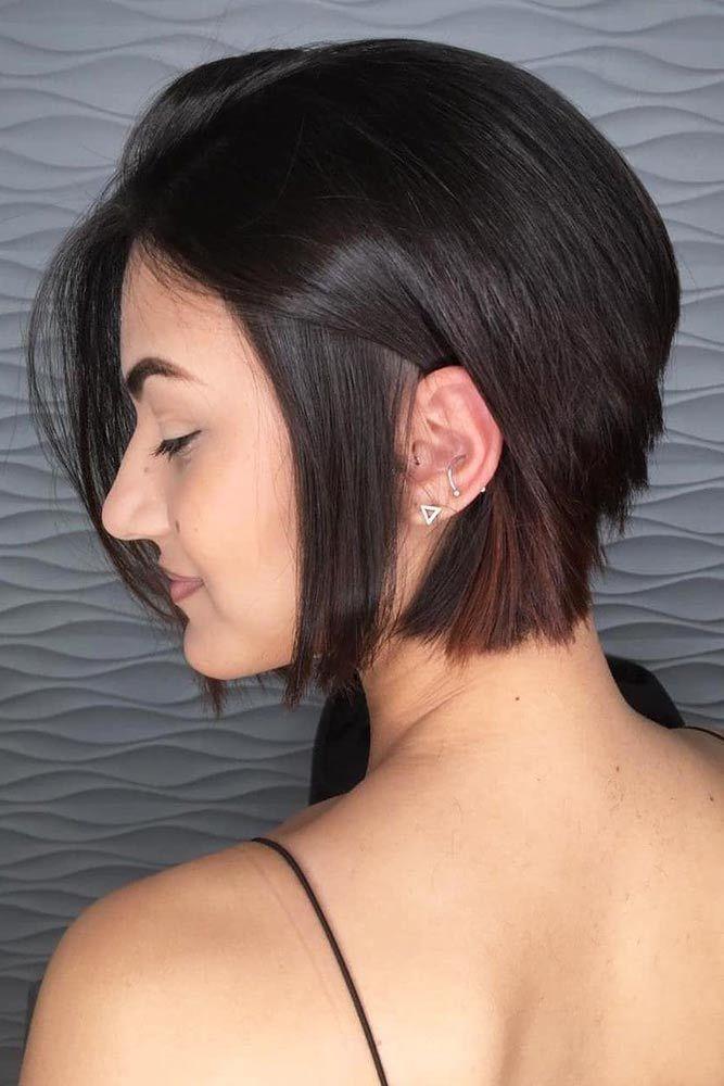 Angled Short Bob #shorthairstyles #hairtypes #thickhair
