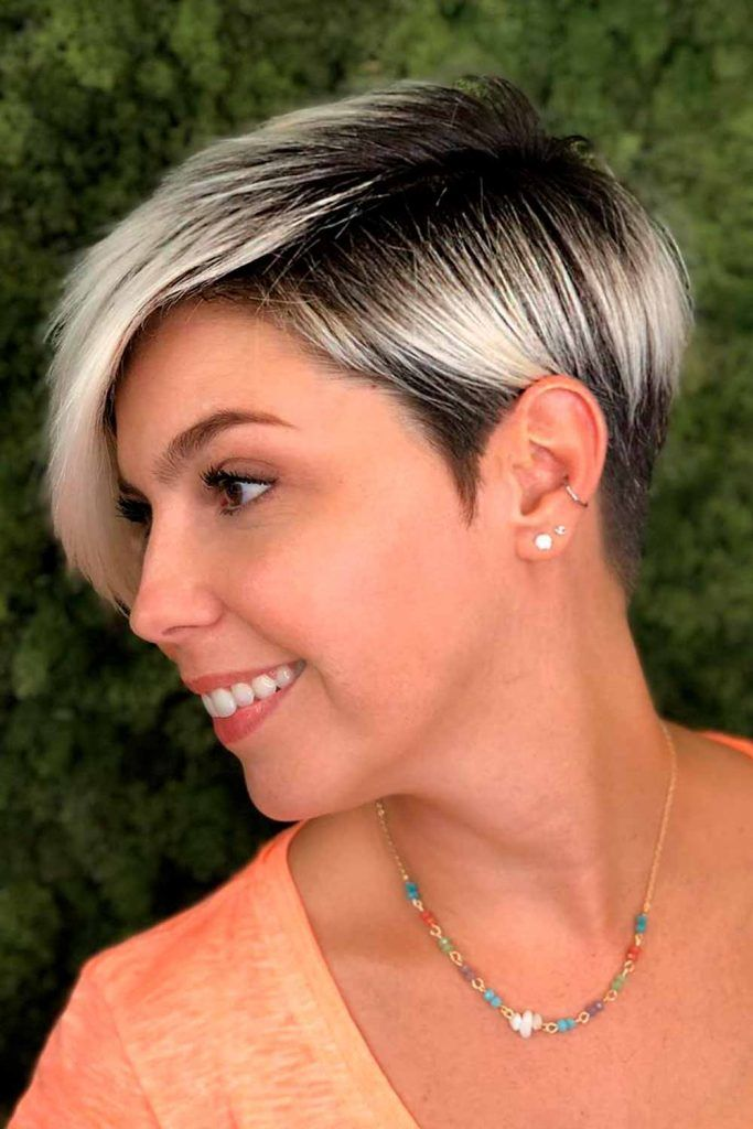 Side-Swept Blonde Ombre Layered Pixie