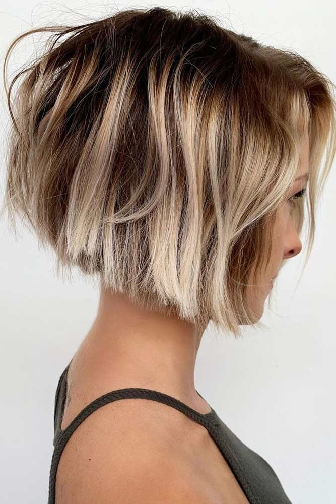 Inverted Messy Bob #shorthairstyles #hairtypes #thickhair