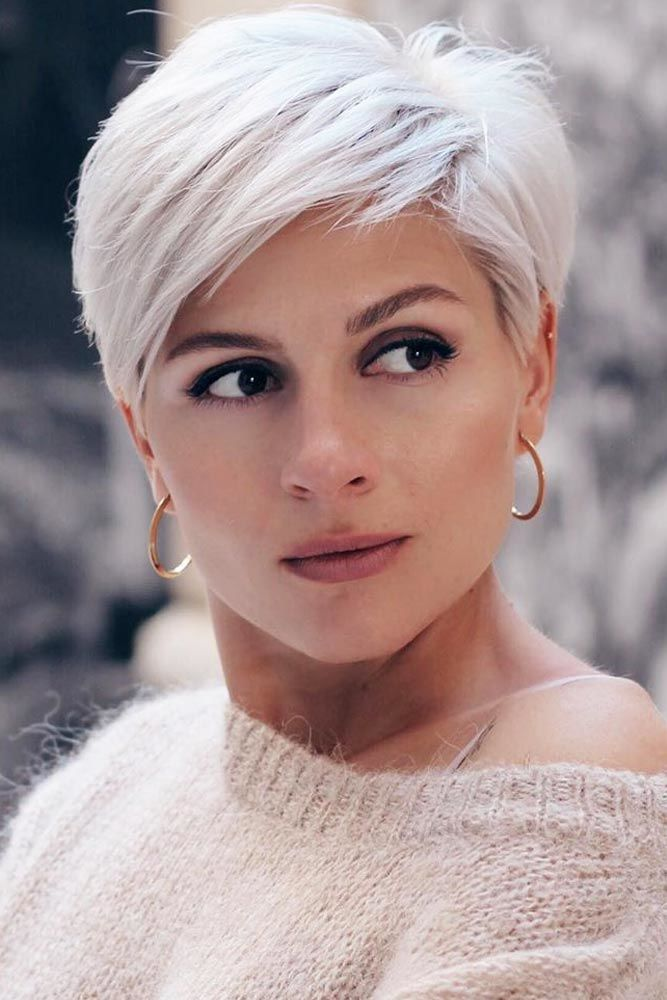 Side Swept Blonde Layered Pixie #shorthairstyles #hairtypes #thickhair