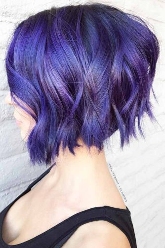 Wavy Bob Hairstyles Purple Color  #shorthair #shorthairstyles #bobhaircut #bobhairstyles #purplehair