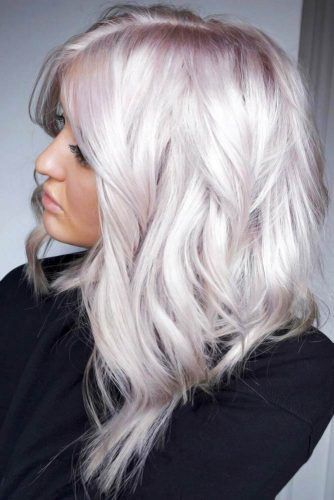 Angled Medium Style With Lilac Tint #bleachedhair