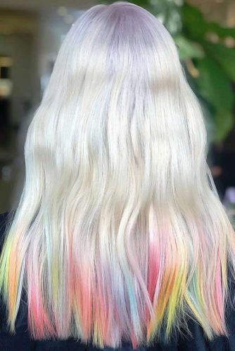 Bleached Hair With Rainbow Ends #bleachedhair