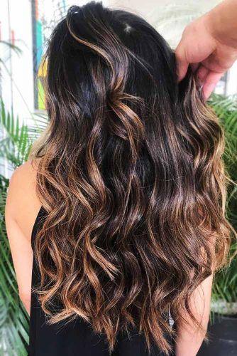 Beige Highlights On Dark Hair #brunette #highlights