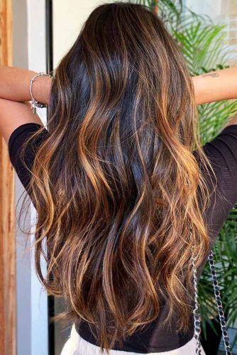 Copper Highlights On Brown Hair #brunette #highlights