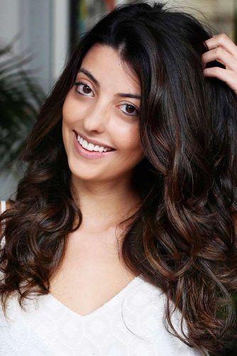 Natural Dark Brown Hair Color Lowlights #brunette