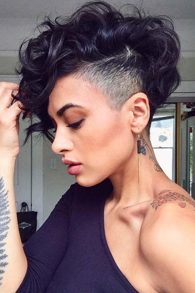 Voluminous Curly Hair With An Undercut #curlypixiecut #pixiecut #haircuts #hairtypes #shorthair