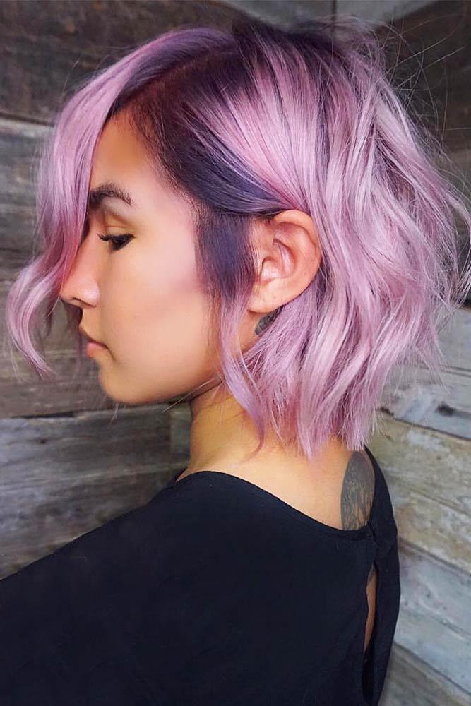 Hot Pink And Dark Purple Hair #shorthair #bobcut #wavyhair #purplehair