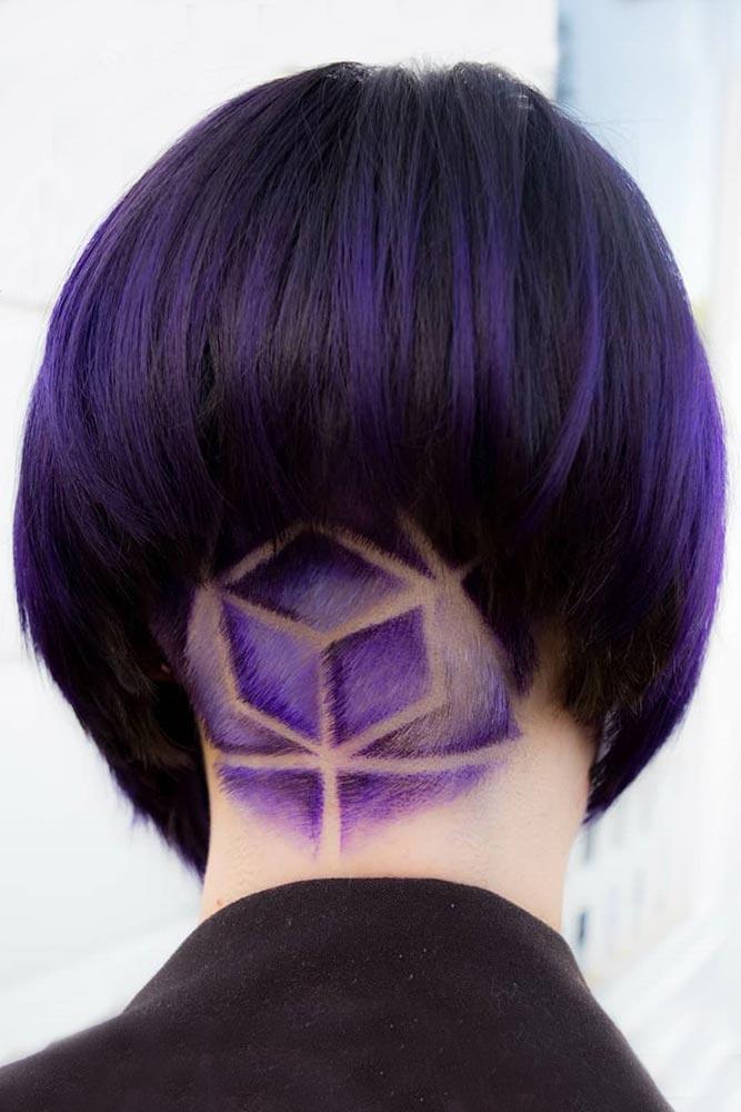 Purple Colored Geometric Undercut #shorthair #undercut #purplrhair