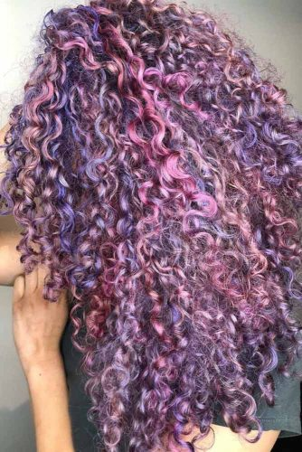 Purple Curly Hair #longhair #curlyhair #highlights #purplehair