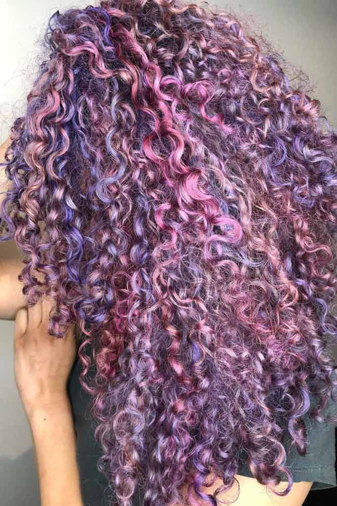Purple Curly Hair #longhair #curlyhair #highlights #purplehair
