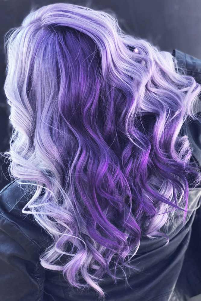 Purple And Lavender Ombre Hair #longhair #wavyhair #purplehair