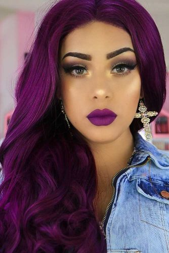 Aubergine Hair Color #longhair #wavyhair #purplehair