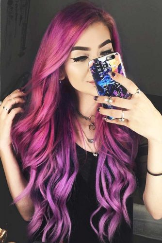 Mermaid In Shades Of Purple #longhair #wavyhair #purplehair #ombre
