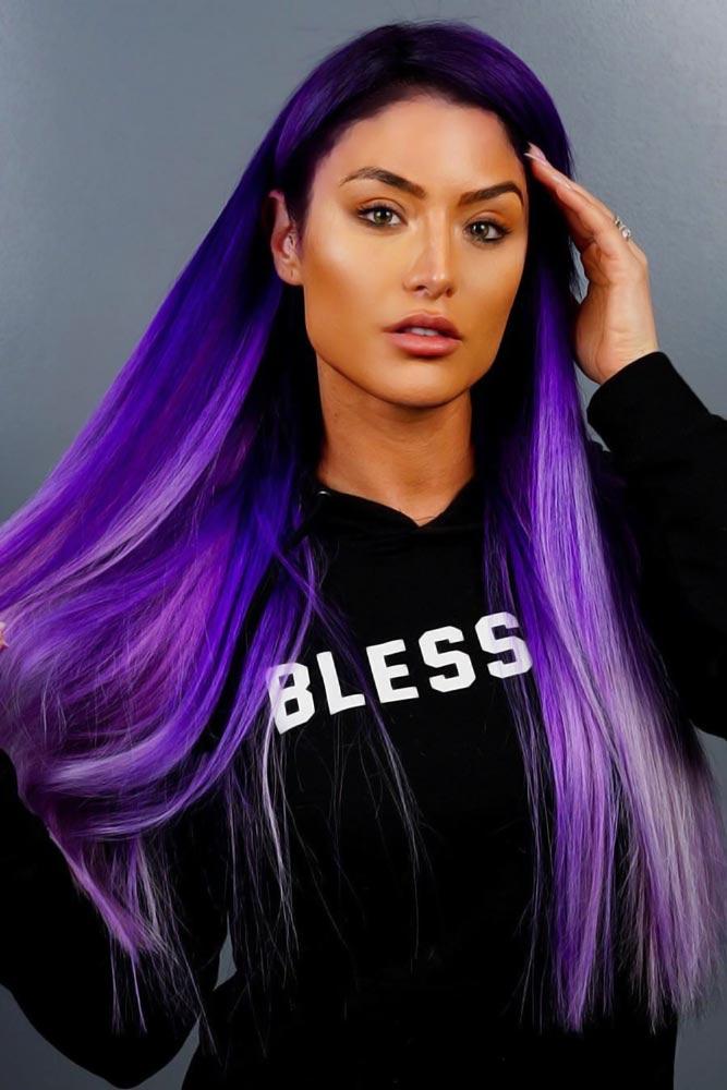 Metallic Purple Straight #purplehair #darkpurplehair