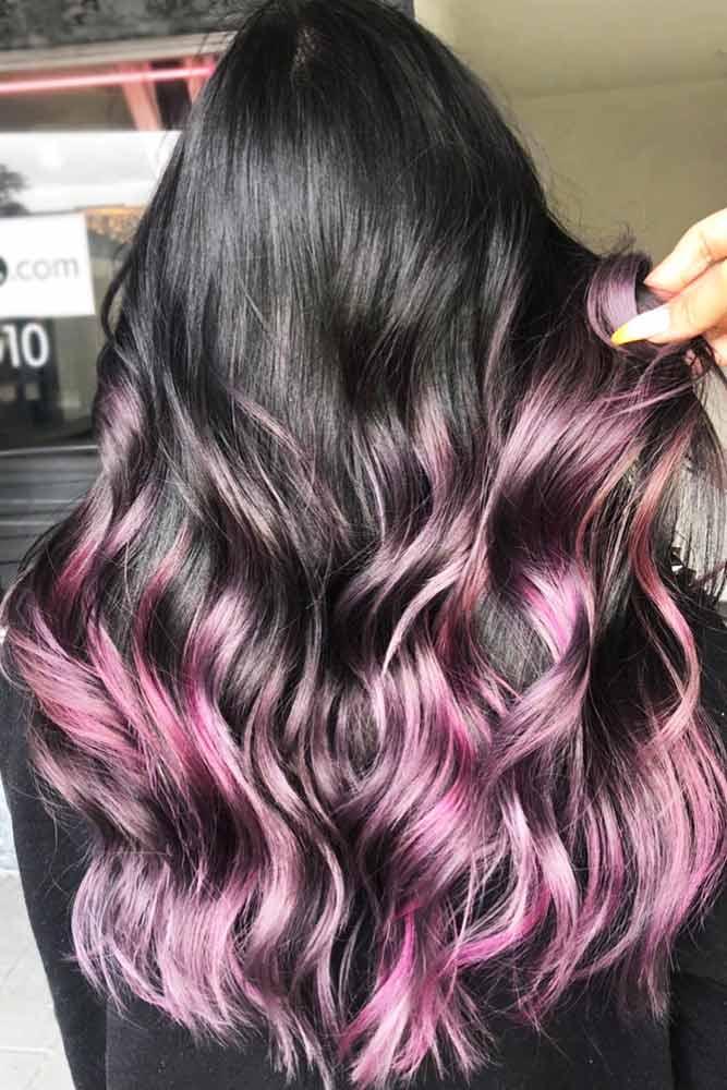 Dark Hair With Purple Highlights #longhair #sleekhair #brunette #ombre