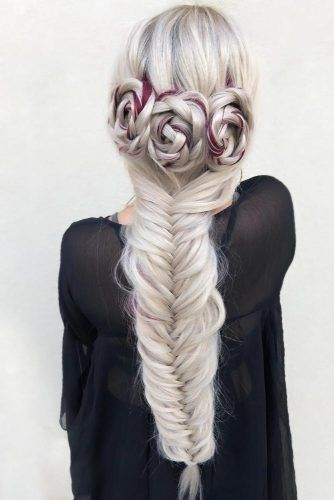 Fishtail With Rosettes #fishtailbraids #braids