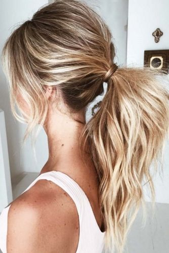 Blonde Highlights For Brown Hair Into Ponytail #blondehair #highlights #ponytail