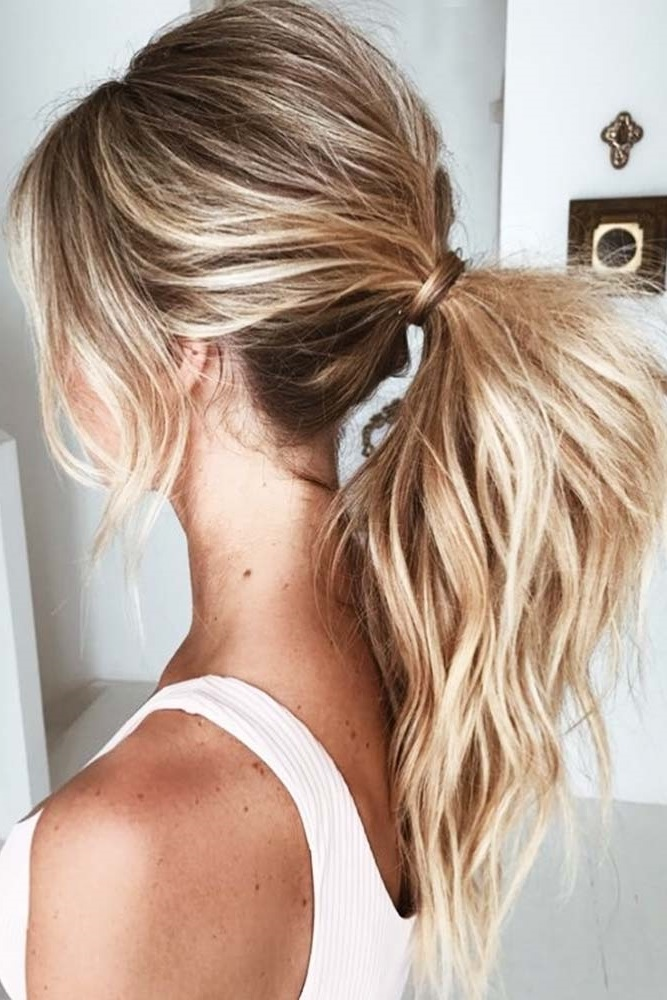 Brown Hair Into Ponytail #blondehair #highlights #ponytail