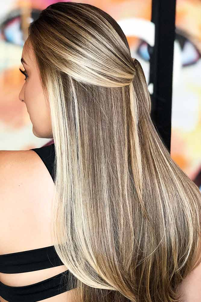 Blonde Highlights On Ash Brown Base #blondehair #brunette #highlights