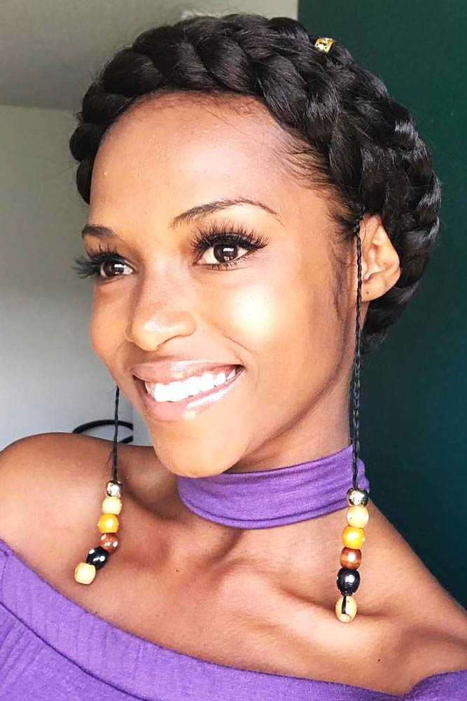 Halo Braids For Natural Hair Double #braids #updo