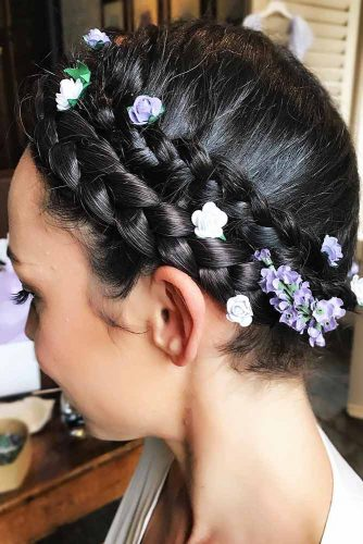Sleek Halo Braids With Accessories #braids #updo