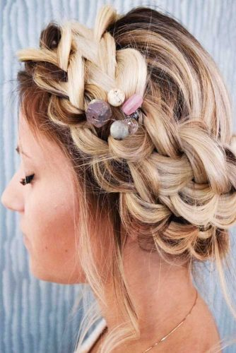 Halo Braids With Accessories Fishtail #braids #updo #messyhair