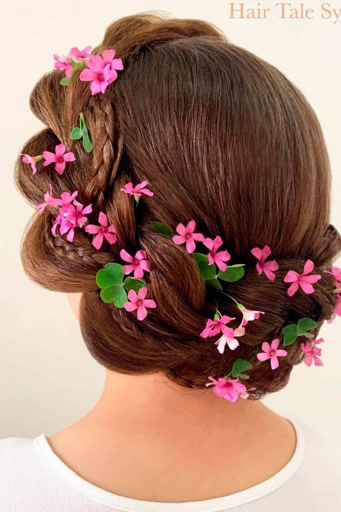 Double Braided Hairstyle With Flowers