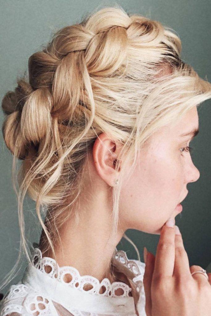 Messy Halo Braids Blonde #braids #halobraids #updo