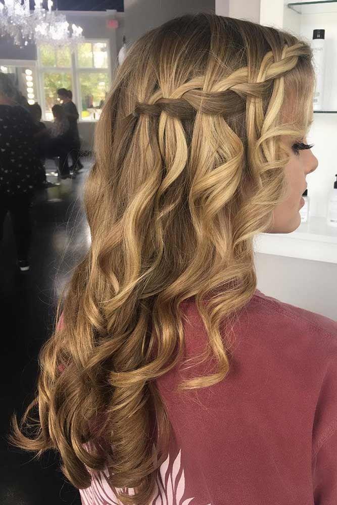 Wavy Side Waterfall Braid Hairstyles #waterfallbraid #braids #hairstyles