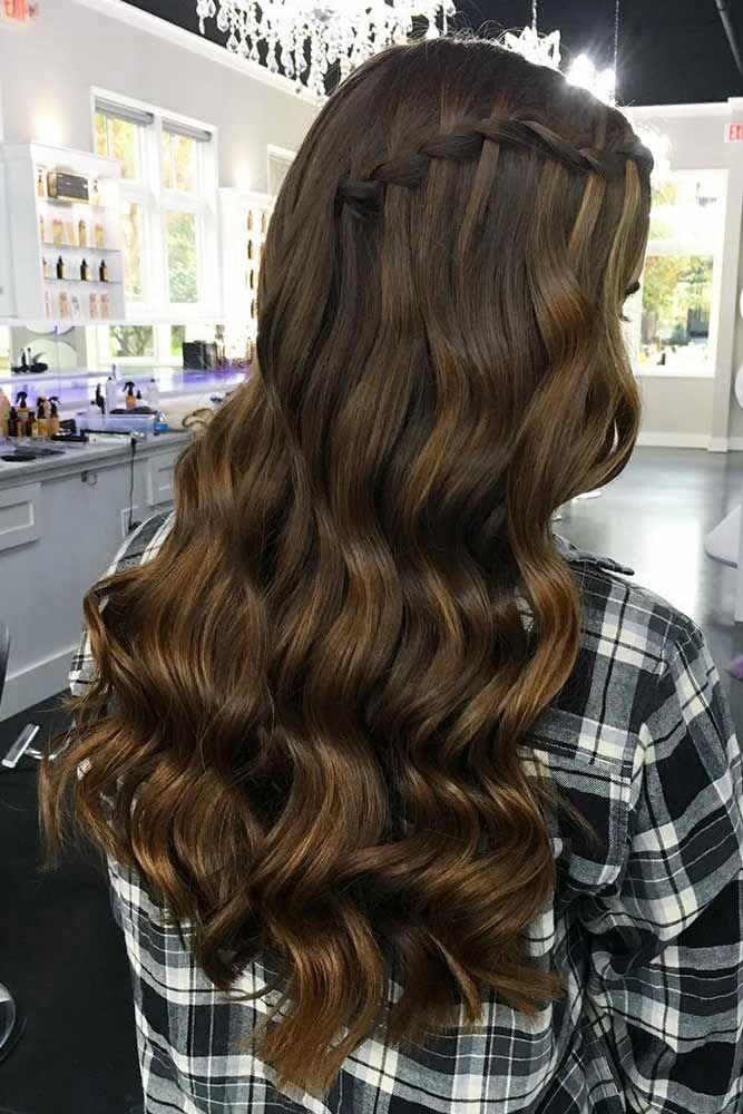 Side Waterfall Braid Hairstyles #waterfallbraid #braids #hairstyles
