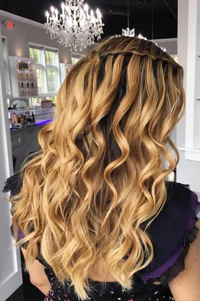 Waterfall Braid With Long Curls #waterfallbraid #braids #hairstyles