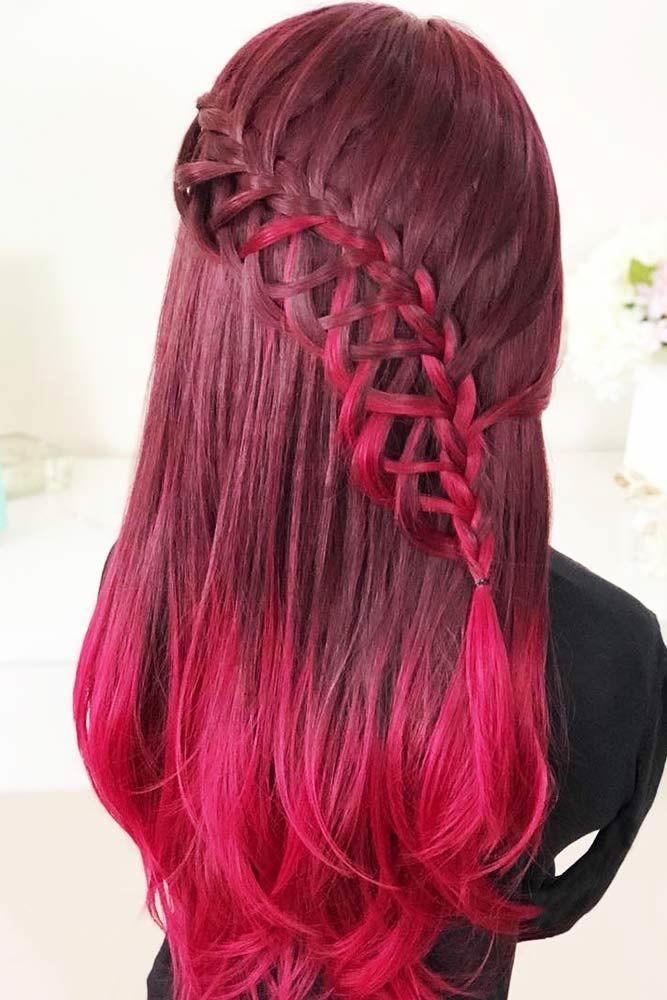 Crimson Waterfall French Braids #waterfallbraid #braids #hairstyles