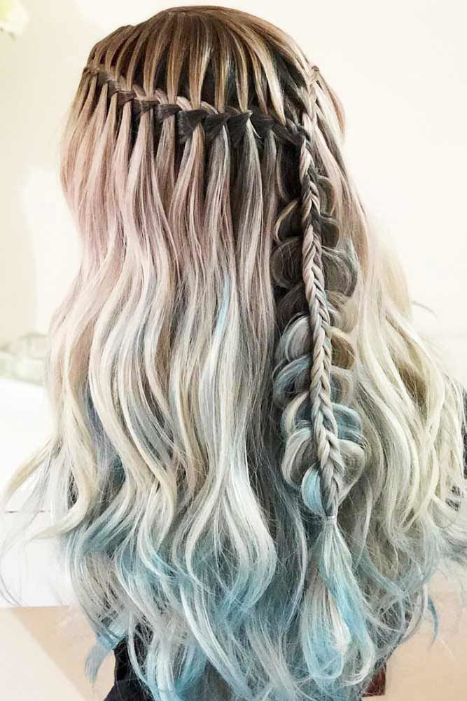 Combo Waterfall Braids For Long Hair #waterfallbraid #braids #hairstyles