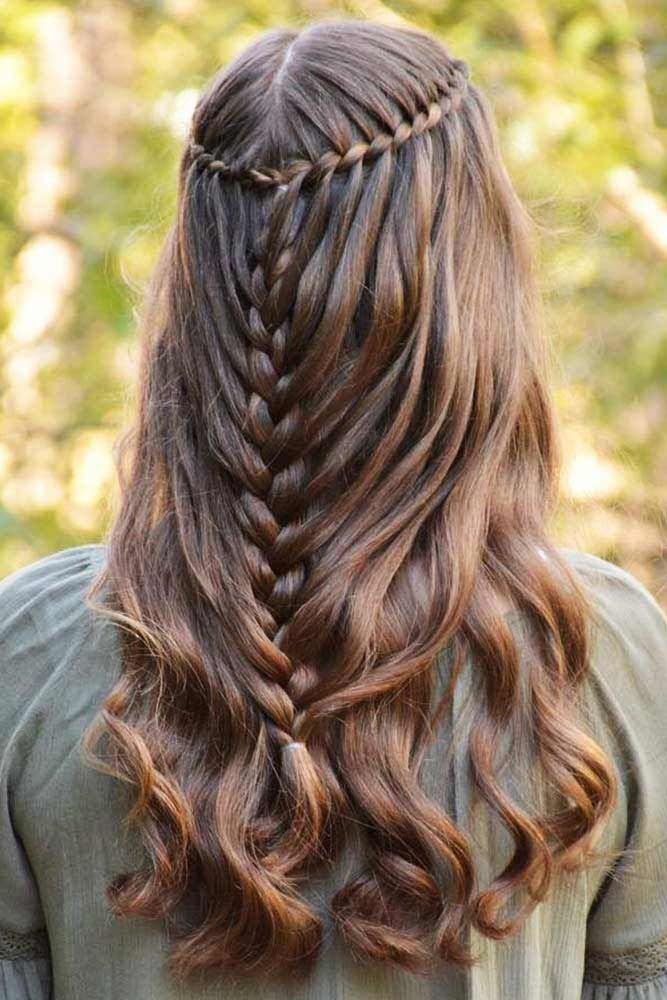 Combo Waterfall Braids For Brown Hair #waterfallbraid #braids #hairstyles