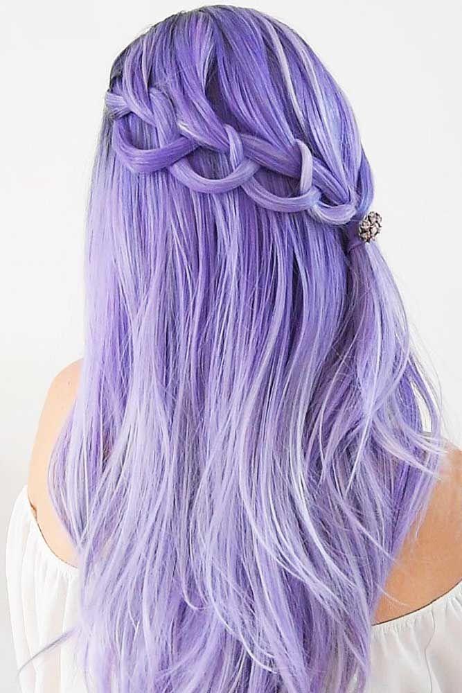Violet Half Updo Waterfall Braids #waterfallbraid #braids #hairstyles
