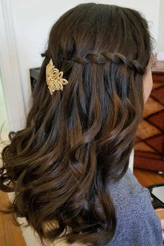 Brunette Waterfall Braids Hairstyles With Accessories #waterfallbraid #braids #hairstyles