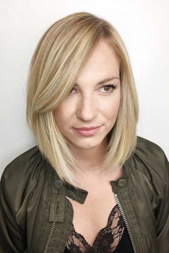 Sleek Long Bob Haircut with Side Swept Bang picture2