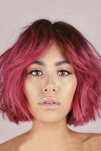 Medium Length Pink Bob with Side Bang #shorthairstyles #bobhaircut #bobwithbangs #pinkhair