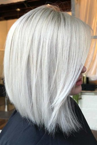 Straight Hairstyles For Medium Hair Icy Blonde Color  #mediumhairstyles #mediumhair #hairstyles #straighthair #icyblondehair