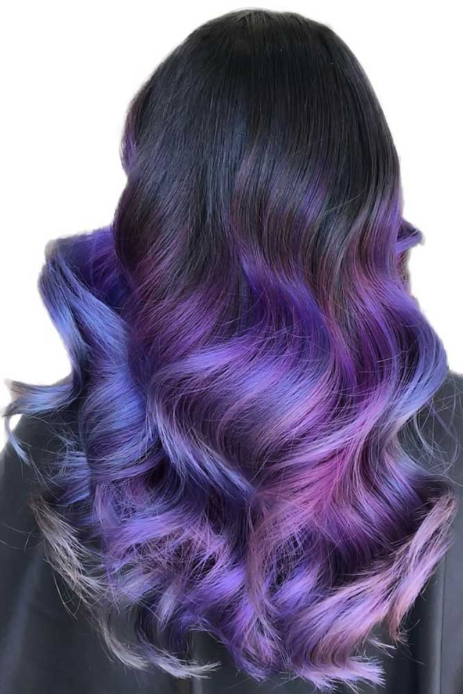 Black & Purple Waves #purplehair #ombre