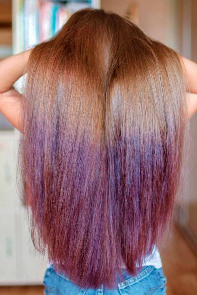 Violet Shades of Purple Ombre For Long Hair