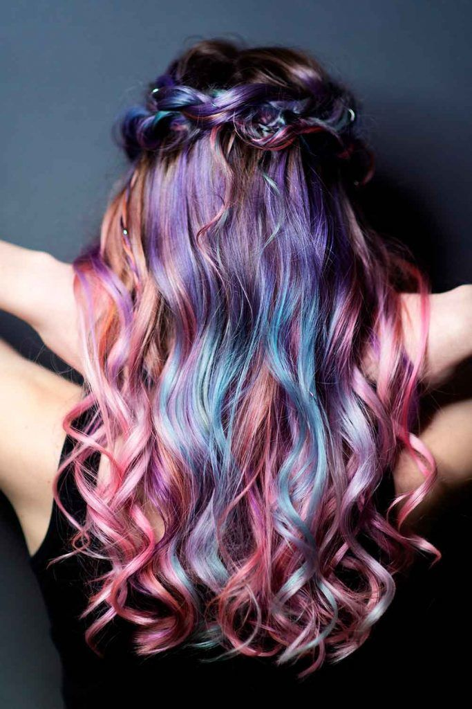 Violet Shades of Purple Ombre For Long Wavy Hair