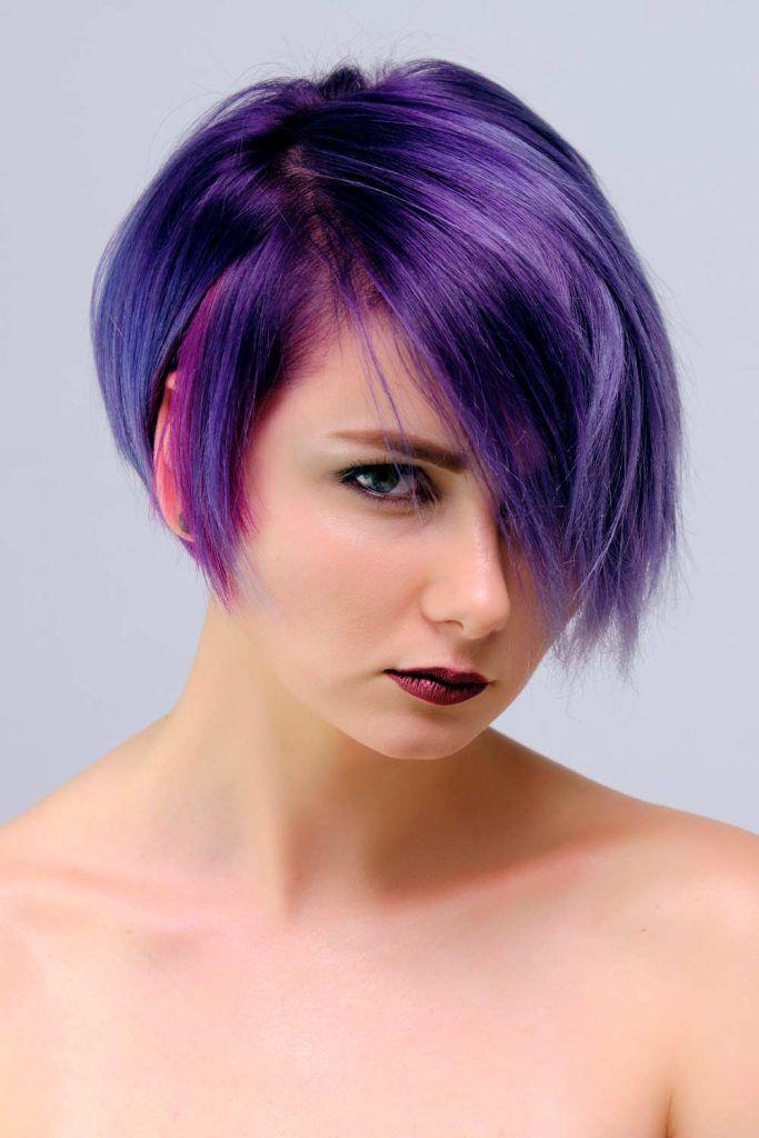 Black & Purple Ombre For Short Hair