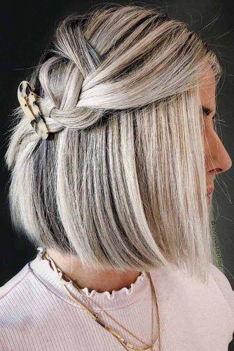 Accessorized Braided Bob Hair Styles #shortbobhairstyles #bobhairstyles #hairstyles