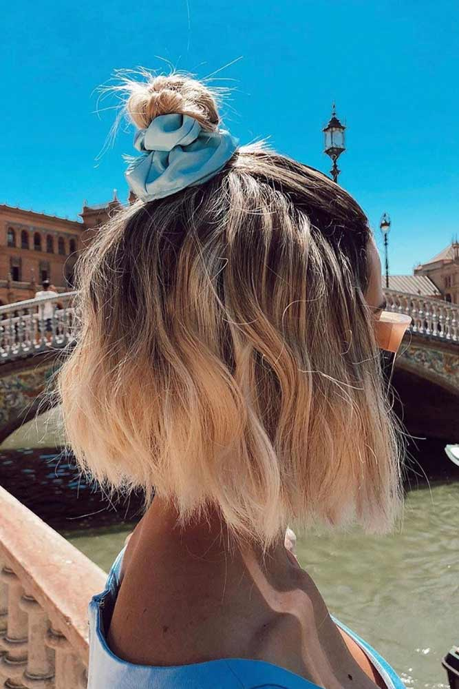 Cute Bob Hairstyles With Accessorized Top Knot #shortbobhairstyles #bobhairstyles #hairstyles