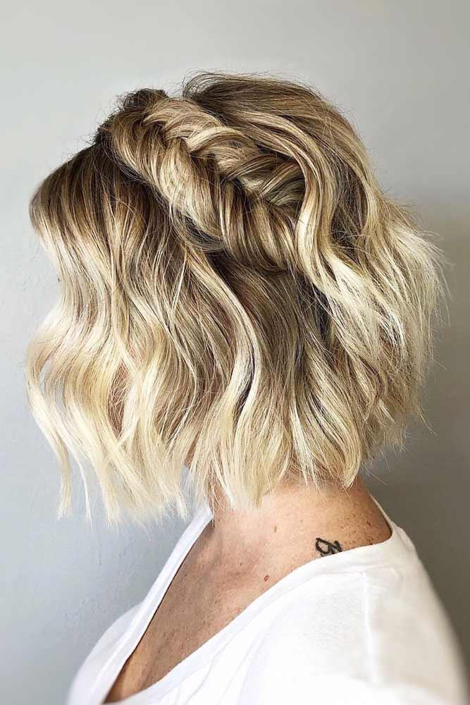 Blonde Braided Bob Hair Styles #shortbobhairstyles #bobhairstyles #hairstyles