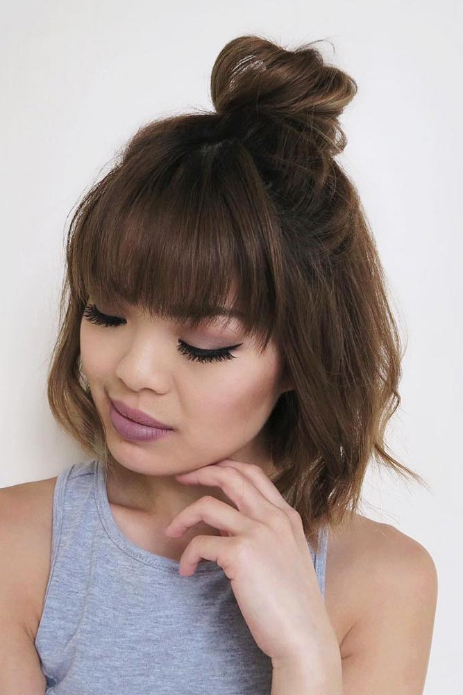 Cute Bob Hairstyles With Top Knot #shortbobhairstyles #bobhairstyles #hairstyles
