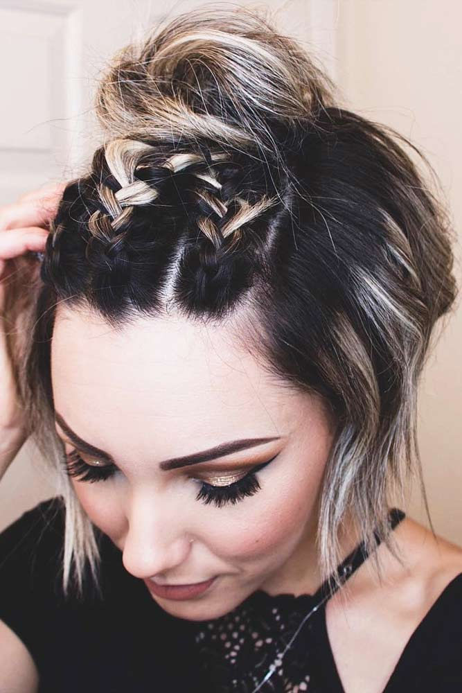 Cute Bob Hairstyles With Braided Top Knot #shortbobhairstyles #bobhairstyles #hairstyles